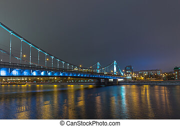 Moscow bridges at night