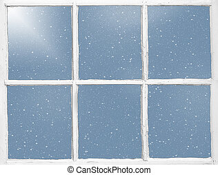 snowflakes in old window - snowflakes on weathered wood...