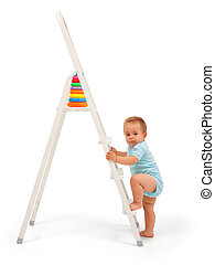 Baby boy on ladder - Serious baby boy wants to reach the...