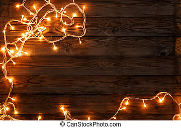 Christmas and new year dark brown wooden background...