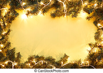 Fr branches on yellow background - Christmas fir branches...