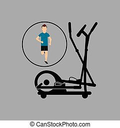 sport man running elliptical trainer vector illustration eps...