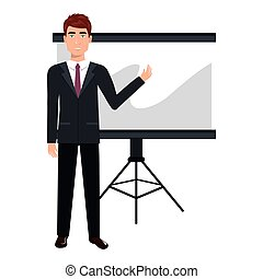business person training with blackboard