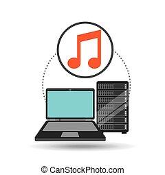 music laptop data server vector illustration eps 10