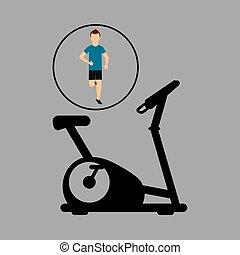 sport man running static bike