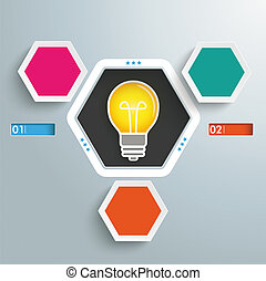 Hexagon Hole 3 Options Bulb Infographic - Infographic design...