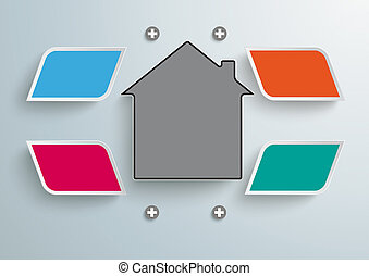 4 Colored Bevel Rectangels House Infographic - Colored bevel...