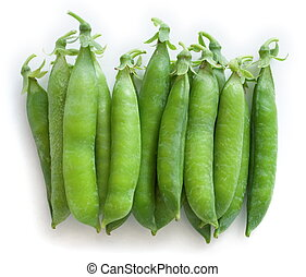 Green peas - Stacked fresh green peas [pisum sativum] - top...