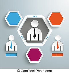 Hexagon Hole 3 Options 3 Businessmen Infographic -...