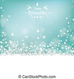 Frohe Weihnachten Stars Snow Bokeh Stars Cover - German text...