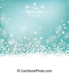 Frohe Weihnachten Stars Snow Wooden Background - German text...