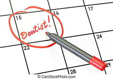 Dentist date on calendar concept, 3D rendering