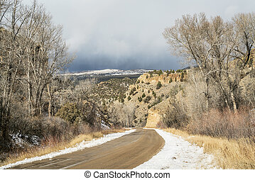 backcountry road through canyon in a late fall near State...