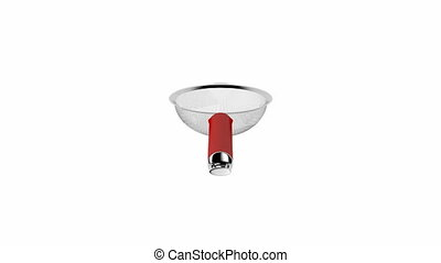 Tea strainer spin on white background
