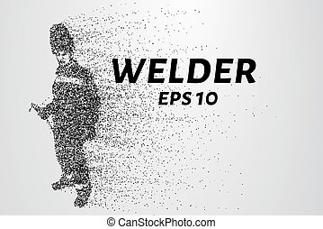 A welder from particles. The silhouette of a welder consists...