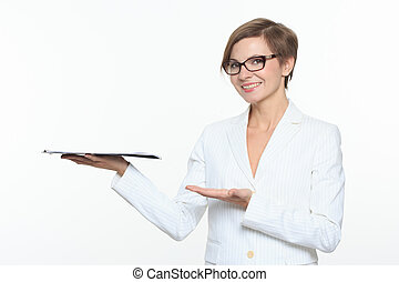 Businesswoman hold with tablet and open hand palm