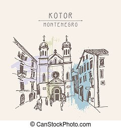 sketch drawing Church of Saint Tryphon in Kotor Montenegro -...