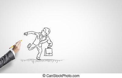hombre de negocios, Bosquejo, Funcionamiento