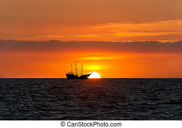 Pirate Ship Ocean Sunset Silhouette
