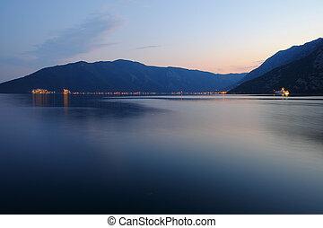 Evening in Kotor Bay near of town Risan, Montenegro