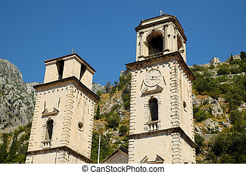 Fragment of Cathedral of Saint Tryphon in old town of Kotor,...