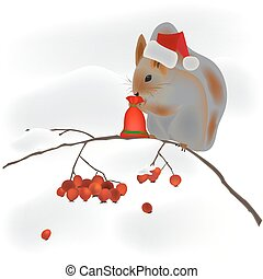 squirrel on a tree branch and snow