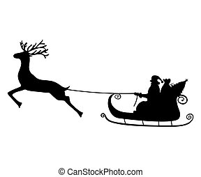 Santa Claus rides in a sleigh in harness on the reindeer...