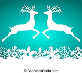 Two reindeer jump to each other on a blue background with...