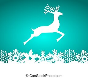 Reindeer on blue background with snowflakes, vector