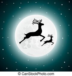 Reindeer and baby deer jumping - vector illustration...
