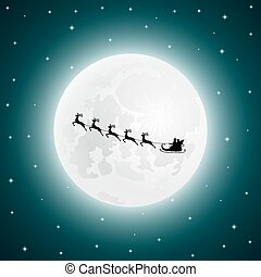 Santa Claus goes to sled reindeer in the background of the...