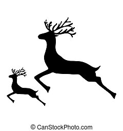 Adult Reindeer and baby deer jumping on a white background,...