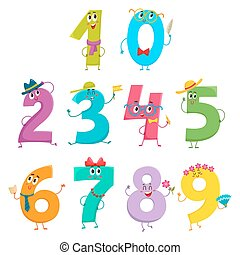 Set of cute and funny colorful number characters, cartoon...