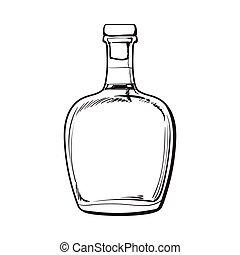 Unopened, unlabeled full whiskey bottle - Full Jamaican rum...