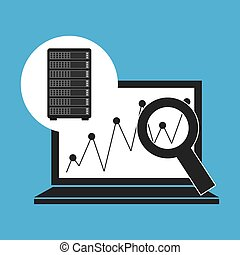 network server concept laptop graphics search vector...