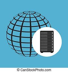 network server concept globe world vector illustration eps...