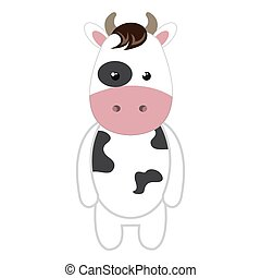 cute little cow animal character vector illustration design