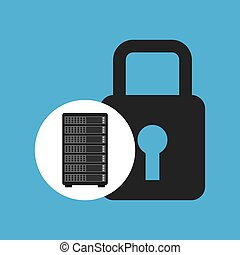 network server concept security lock graphic vector...