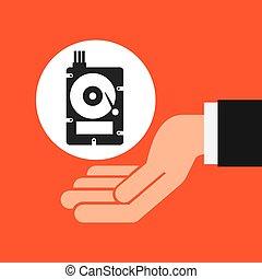 hands businessman data hard drive disk vector illustration...