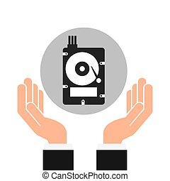 hands businessman data hard drive disk vector illustration...