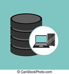 laptop data server center icon vector illustration eps 10