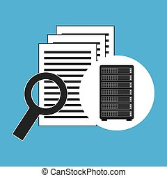network server concept document search vector illustration...