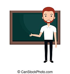 young man teacher character with greenboard vector...