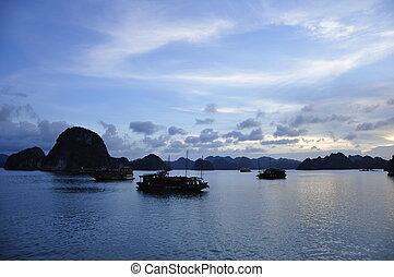 Halong Bay - View of Junks at Halong Bay