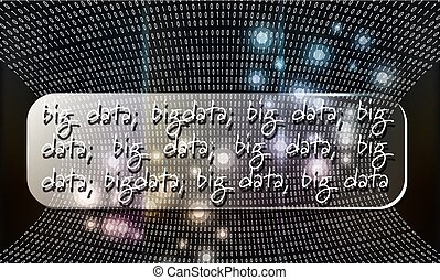 Futuristic vector backdrop with binary code and the words big data