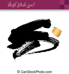 black ink hand drawing brush strokes element isolated on...