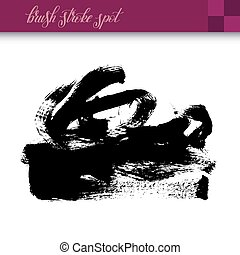 black ink hand drawing brush strokes spot element isolated...