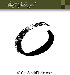 abstract black ink hand drawing brush strokes spot element...