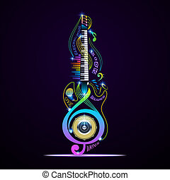 Musical instruments collage for rock, jazz, blues, lounge,...