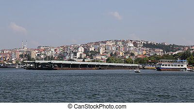 Old Galata Bridge in Golden Horn, Istanbul, Turkey